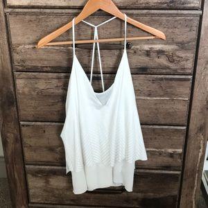 White Zara Tank w/ cool pattern and back!